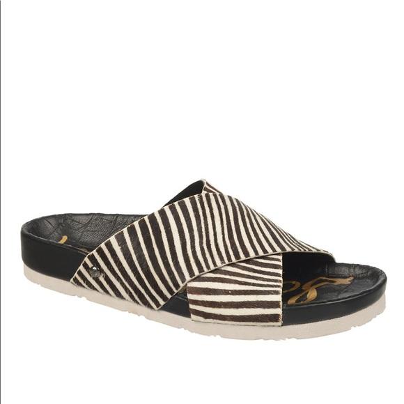 11227120a382f7 Sam Edelman Adora Calf Hair Zebra Slide Sandals. M 5b2725c32e1478b7dd99a3e8
